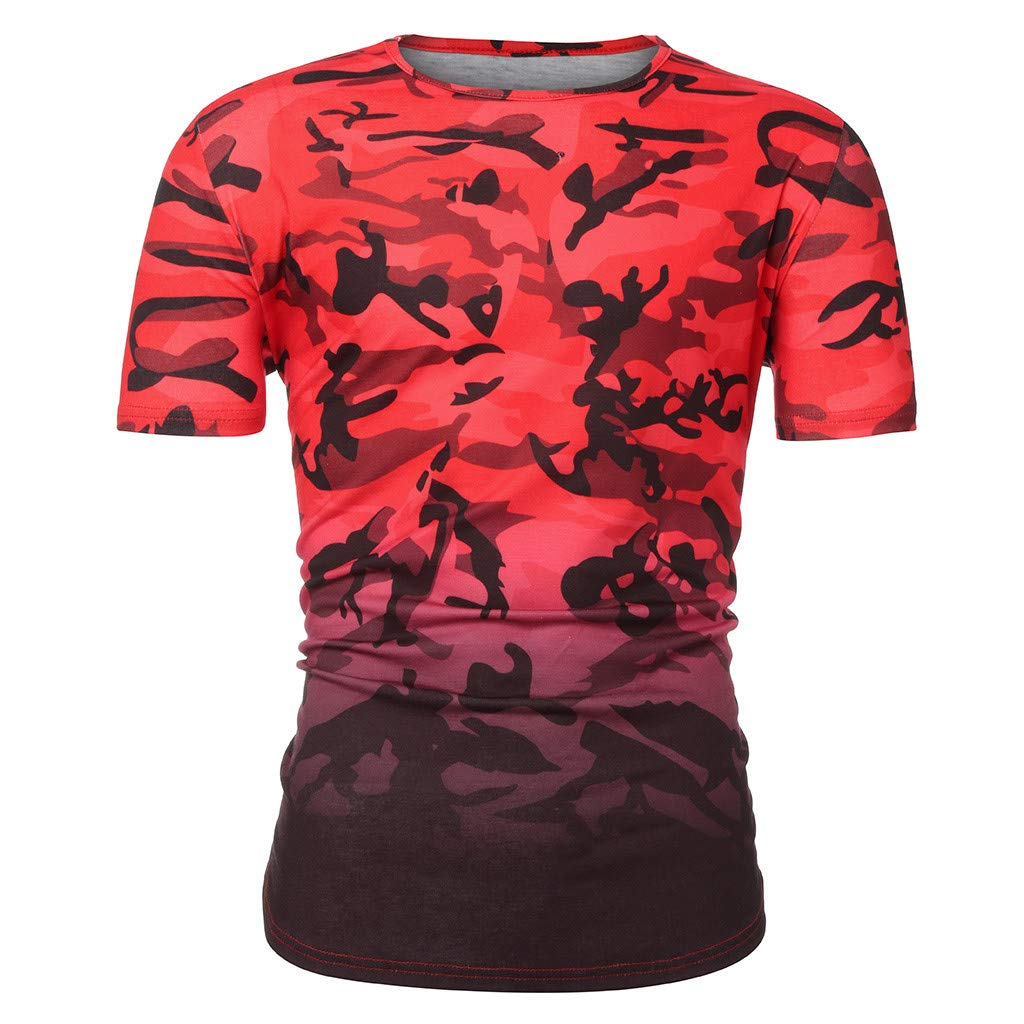 Forthery Men Shirts Camouflage Casual Short Sleeve Slim Fit Henley T-Shirt Tee Tops