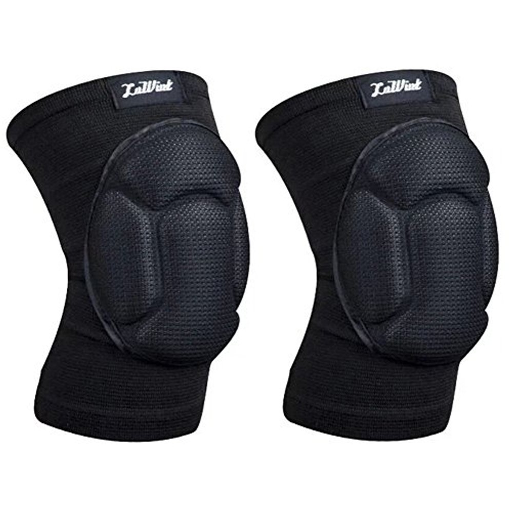Aoneky Adult Sponge Cushion Knee Pads, High Elastic Short Knee Sleeves Knee Brace Support for Running Cycling Skating Basketball Outdoor Sports Protector Guards, 1 Pair Black 1 Pair (Black) LWT-KP