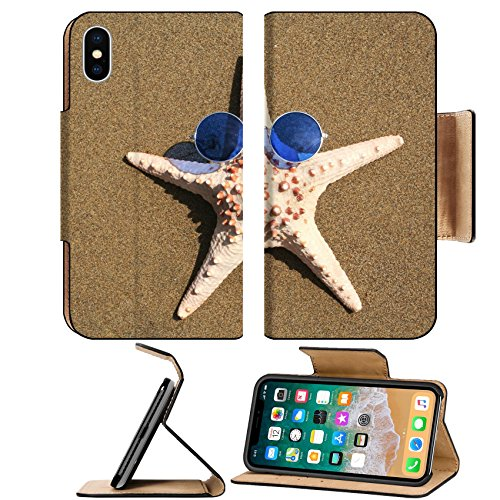 Liili Premium Apple iPhone X Flip Pu Leather Wallet Case IMAGE ID: 397188 Starfish wearing 1960s - 1960s Sunglasses
