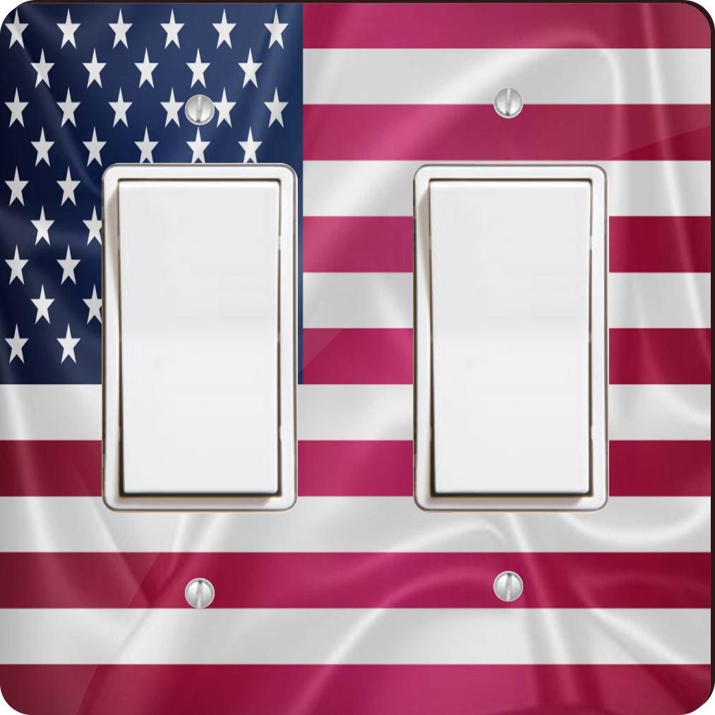 Rikki Knight 2675 Double Rocker United States of America Usa Flag Design Light Switch Plate