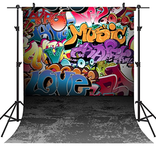 OUYIDA 5X7FT Wall Graffiti Style Pictorial Cloth Photography Background Computer-Printed Vinyl Backdrop TG01A by OUYIDA (Image #5)