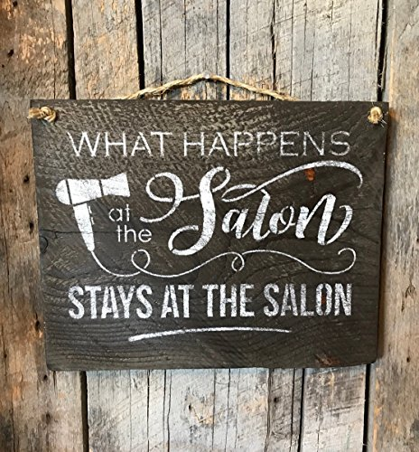 What Happens At The Salon Stays At The Salon Barn Wood Plank Hanging Sign Rustic Wall Decor Beautician Hanging Hair Stylist Saying Funny