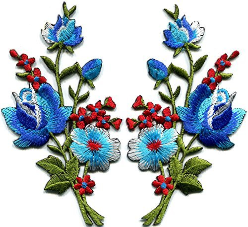 - Blue roses pair flowers floral bouquet boho embroidered appliques iron-ons patches new