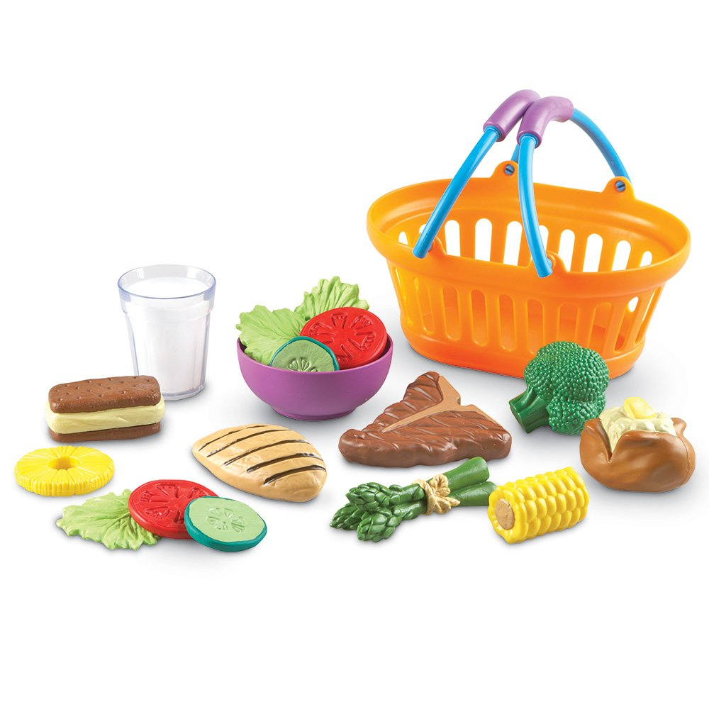 Learning Resources New Sprouts Dinner Foods Basket, Pretend Play Food, 18 Pieces, Ages 18 mos+