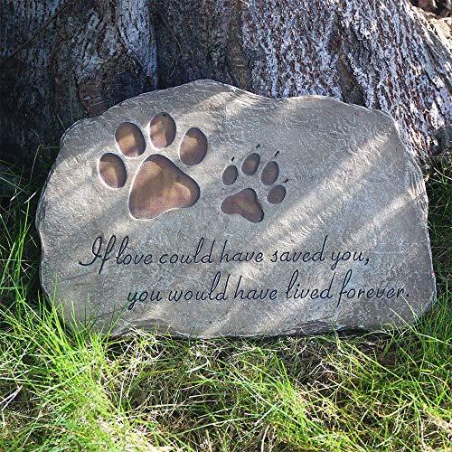 BJSM Pet Memorial Stone, Evergreen Garden Pet Paw Print Memorial Stone, Loss of Pet Gift (Paw Print) (Stone Print Paw Garden Memorial Pet)