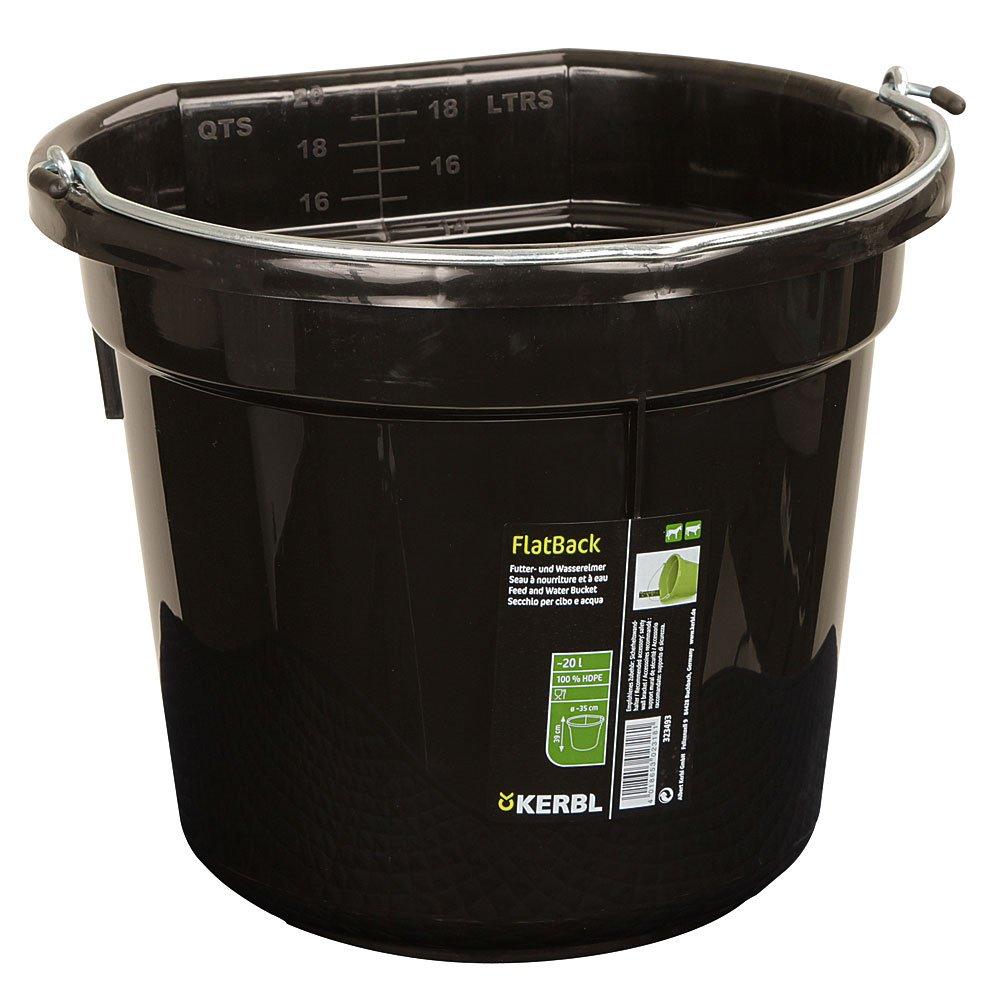 Kerbl Cubo para agua o comida FlatBack aprox. 20 l, negro 323493