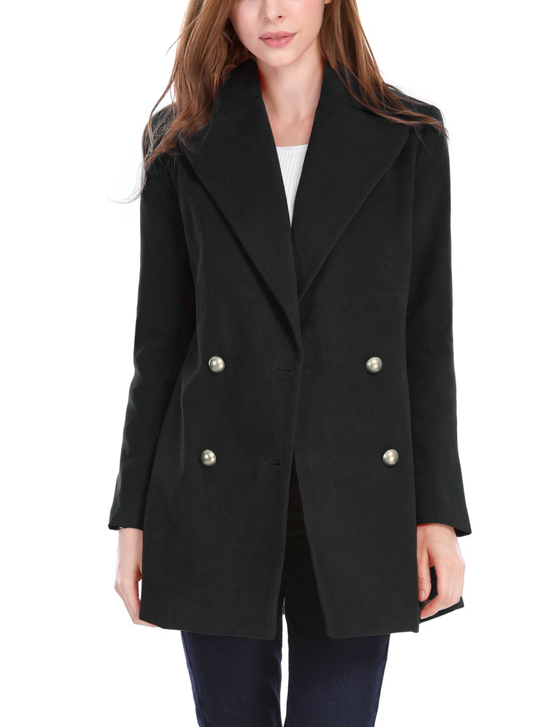 Allegra K Women's Notch Lapel Pockets Double Breasted Coat S Black
