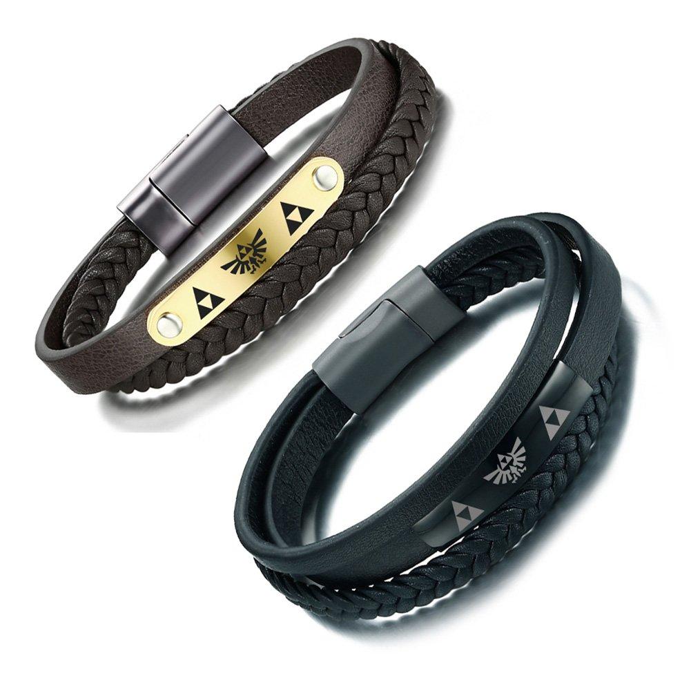 VNOX Handmade Braid Genuine Leather Legend of Zelda Cuff Bangle Bracelet for Men Women, Gold Plated/Black, 8 8 VNOX Jewelry BL-295B-1+BL-299Z-1