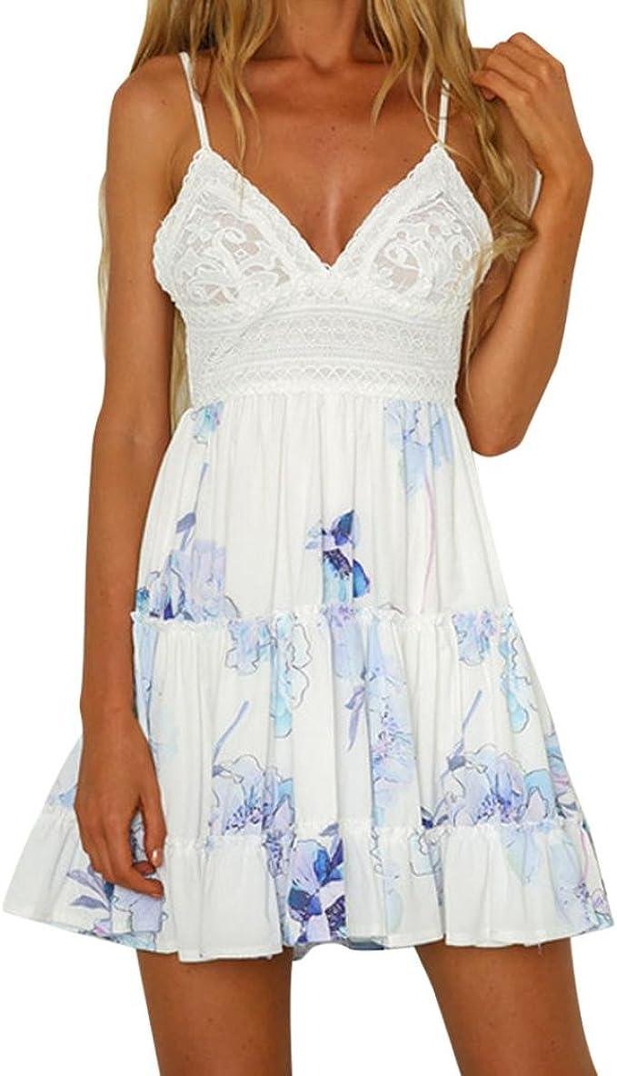 Twifer Frauen Ruckenfreies Minikleid Weiss Abendkleid Party Strand Sommerkleid Amazon De Bekleidung