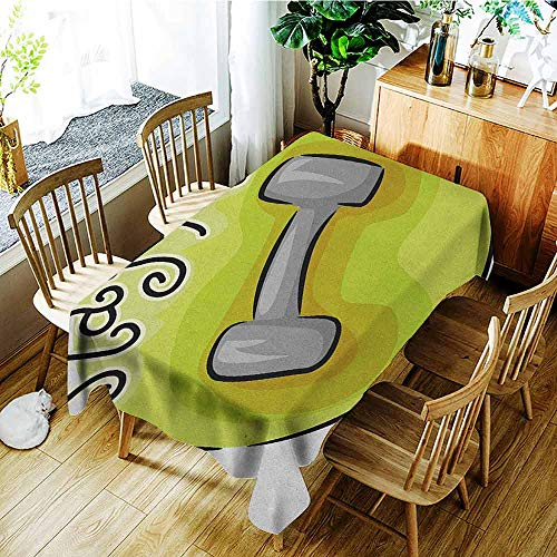 XXANS Custom Tablecloth,Fitness,Stay Fit Circular Icon with a Dumbbell Cartoon Style Fun Illustration,Dinner Picnic Table Cloth Home Decoration,W60x84L Pale Green Grey Black