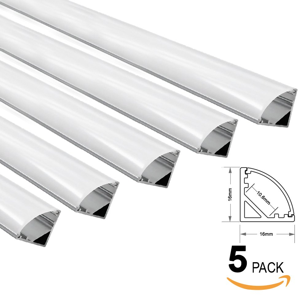 5 PACK of 1M/3.3ft V-Shape Aluminum Channel for Corner Mount LED strip installation, Right Angle Aluminum Profile with Oyster White Cover, End Caps and Mounting Clips – V02