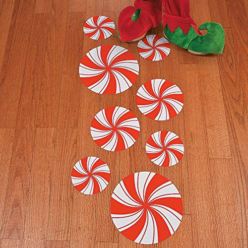 Christmas Peppermint Express - Fun Express - Peppermint Floor Decals (8pc) for Christmas - Party Decor - General Decor - Floor Clings - Christmas - 8 Pieces