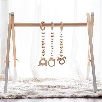 Amazon.com: HAN-MM - Gimnasio de madera para bebé con 3 ...