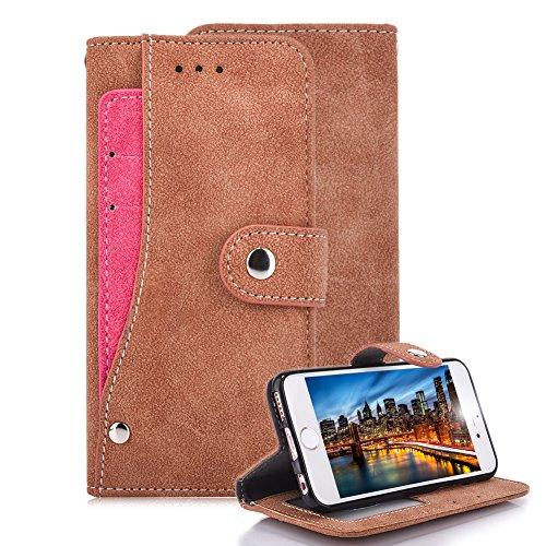 Magnetisch Flip Handyhülle für iPhone 5 5S SE, Aearl PU Leder Matt Retro Drehen Kredit ID Kartenhalter Brieftasche Book Style Funktion Ständer Hülle für iPhone 5S SE 5 mit Displayschutzfolie - Rose Ro Khaki