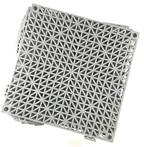 Set of 9 Interlocking Gray Rubber Floor Tiles- 11.5 inches Each Side - Non-Slip Tread - Wet Areas Like Pool Shower Locker-Room Bathroom Deck Patio Garage Boat. Can be Cut ()