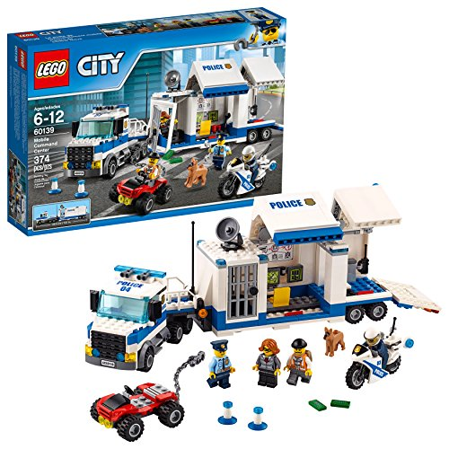 LEGO City Police Mobile Command Center Truck 60139 Building Toy, Action Cop Motorbike and ATV Play Set for Boys and Girls aged 6 to 12 (374 -