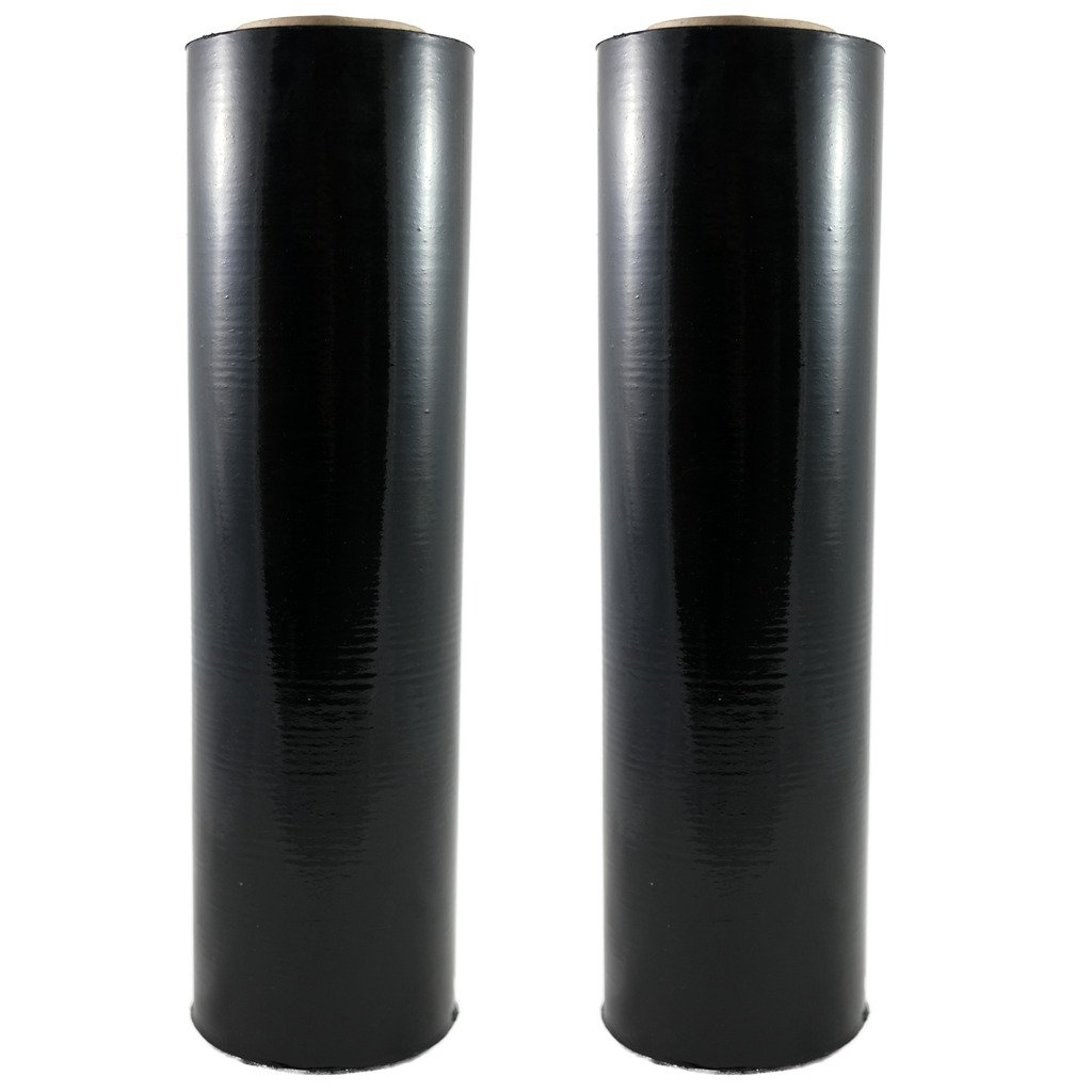 TOTALPACK - 18'' x 1000 FT Roll - 85 Gauge Thick + Hybrid technology, 2 Pack. Stretch Moving & Packing Wrap. Industrial Strength, Black Plastic Pallet Shrink Film Ideal For Furniture, Boxes, Pallets...