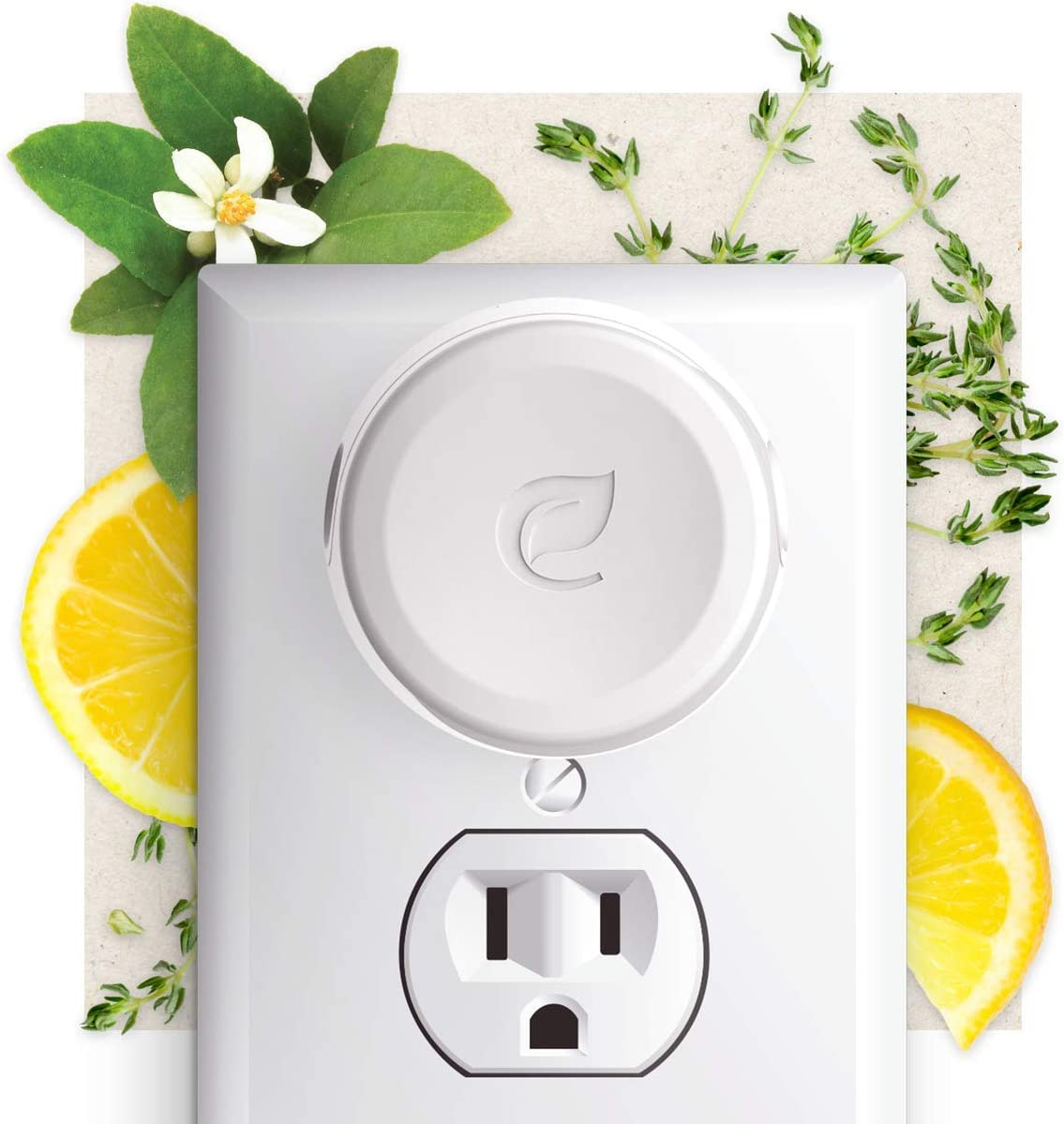 Enviroscent Non-Toxic Plug-in (3-Piece Set) Room & Home Air Freshener Kit (Lemon Leaf + Thyme) Infused with Essential Oils | 1 Refillable Plug Hub & 2 Liquidless Scent Pods