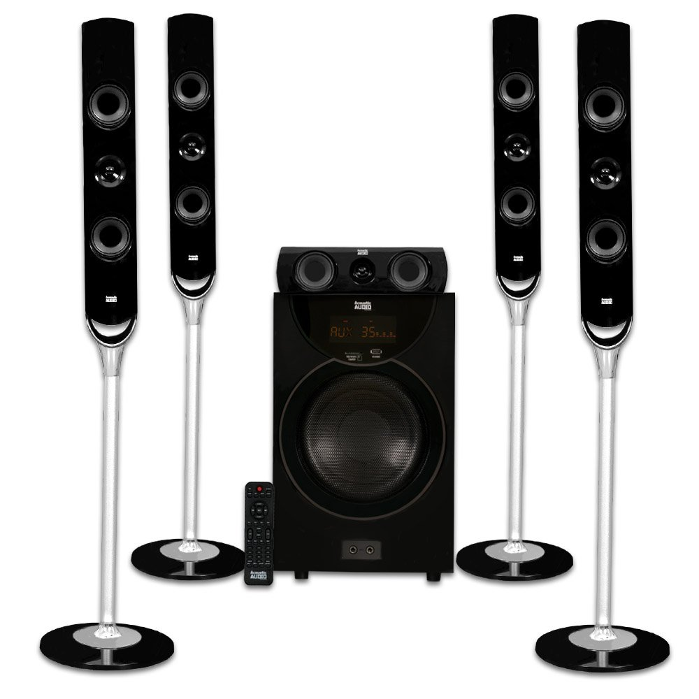 Acoustic Audio AAT2000 Tower 5.1 Home Theater Bluetooth Speaker System with 8'' Powered Subwoofer by Acoustic Audio by Goldwood