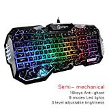 SAREPO Semi Mechanical Gaming Keyboard Led Music Equalizer Mode 9 Multicolor Backlight Illuminated USB Wired Gaming Keyboard with 19 Anti Ghosting Key for Mac and Windows (Black)