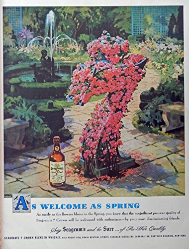 Seagram's Seven Crown Whiskey, 40's Print Ad. full Page Color Illustration (flowers bloom in the Spring) Original Vintage, Rare 1948 Life Magazine Art