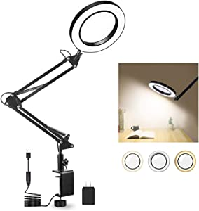 LED Magnifying Desk Lamp with Big Clamp 3 Adjustable Light, 10 Brightness Magnifier for Reading/Office/Hobbies/Crafts Clip on Light Reading Lights(20 INCH)