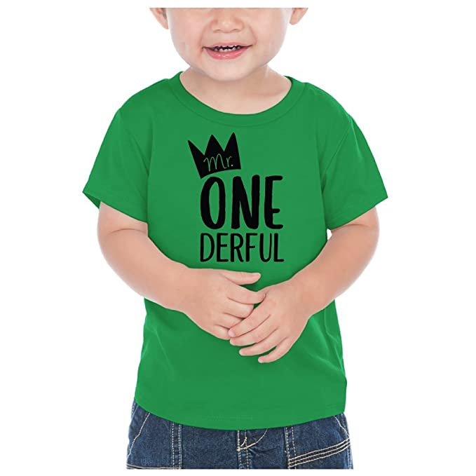 First Birthday Outfit Boy Mr One Derful Shirt Kelly Green 12