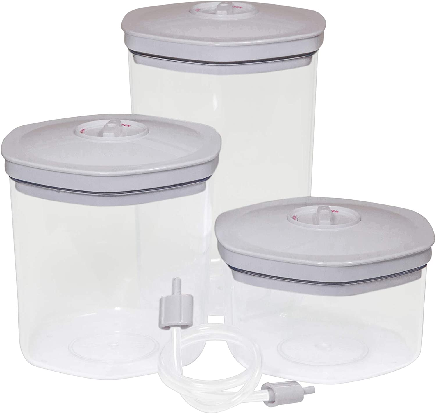 NEW Vacuum Food Storage Canisters 3-Piece Set Clear Bottoms with White Locking Lids and Includes Universal Hose Attachment Keep Foods, Snacks, Coffee Fresh Plus for Use in Marinating Avid Armor
