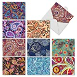 M6570OCB Crazy For Paisley: 10 Assorted Blank All-Occasion Note Cards Featuring Various Styles of Swirling Paisley Patterns in Rich Colors, w/White Envelopes.