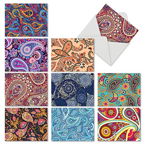 10 All-Occasion Blank Greeting Cards with Envelopes (Boxed Set) - Assorted 'Crazy for Paisley' Note Cards 4 x 5.12 inch for Wedding, Baby Shower, or Birthday M6570OCB