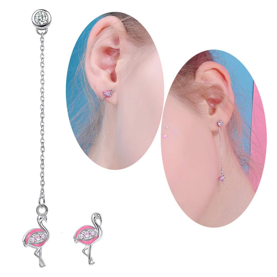 Simple 925 Sterling Silver Star//Cat Ear//umbrella // Cross//Diamond // cactus//Flamingo Stud Earrings 7 Pairs a Week Series Set Novelty one Week Earrings Set 7 Pairs