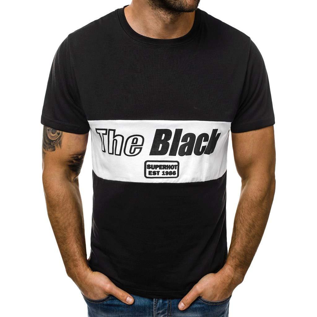 Winsummer Boy Men's Funny Graphic Printed Short Sleeve T-Shirt Summer Man Casual Slim Tee Tops Black