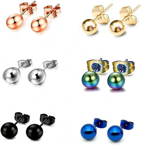5 Pairs Men Women Stainless Steel Round Ball Piercing Stud Earrings 3mm-8mm Set