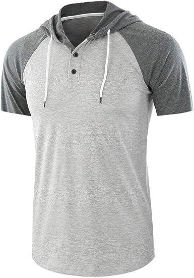 Camisa con Capucha para Hombre, Manga Corta, Camiseta de Manga Corta, Camisa, Camisa, Camisa, Camisa, Camiseta, Camiseta Deportiva Gris XL: Amazon.es: Ropa y accesorios