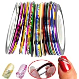 30x Mixed Colors Nail Art Striping Tape Rolls Line Tips Decoration Sticker