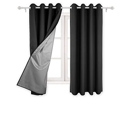 Deconovo Eyelet Curtains Ready Made Room Darkening Thermal Insulated Ring Top Blackout For Living