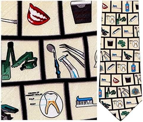 Mens Silk Dentist Tools of the Trade Necktie Tie Neckwear