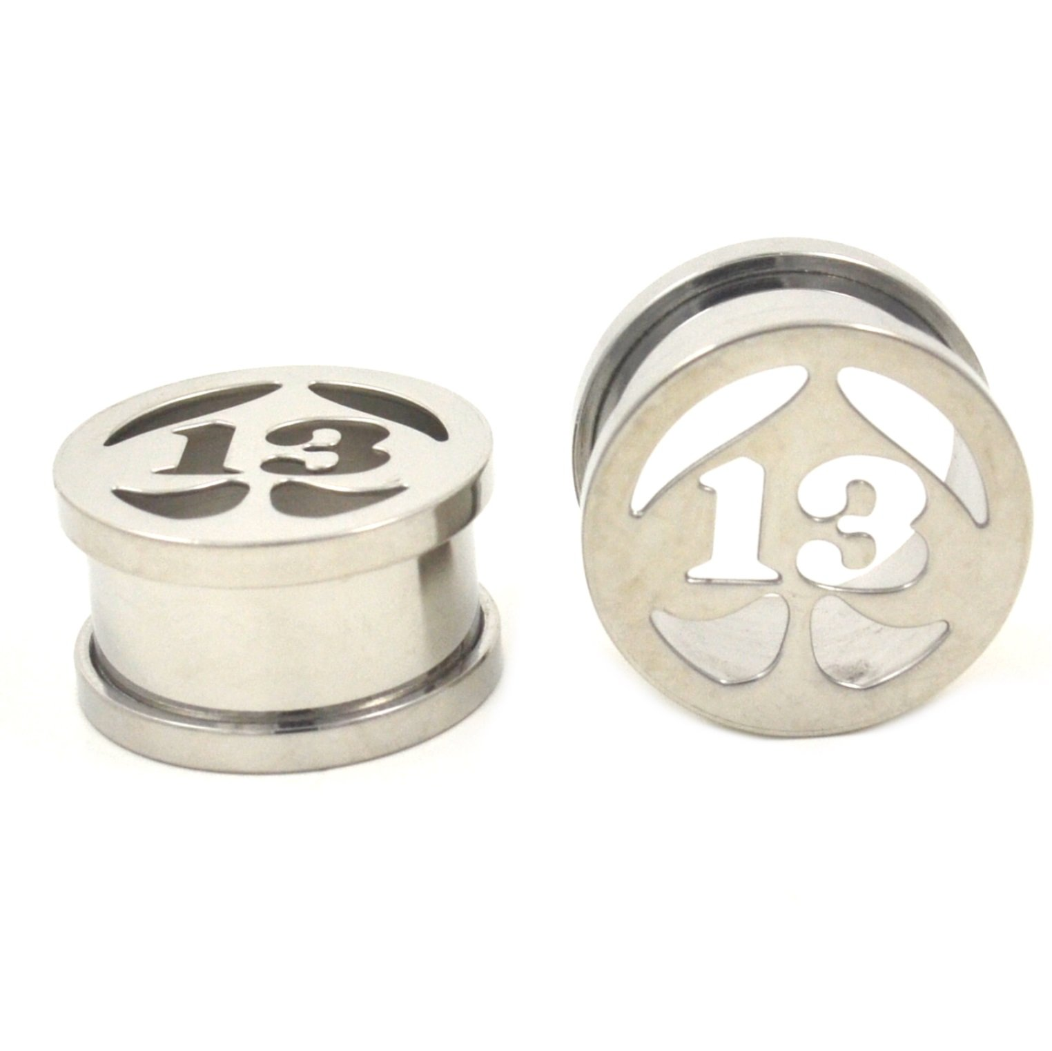 Pair (2) Stainless Steel Lucky # 13 Spade Ear Plugs Hollow Screw-Fit Tunnels - 9/16'' 14MM