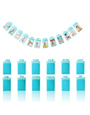 OOTSR 1st Birthday Baby Photo Banner, Baby 1-12 Month Blue Glitter Photo Prop for Party Bunting Decoration