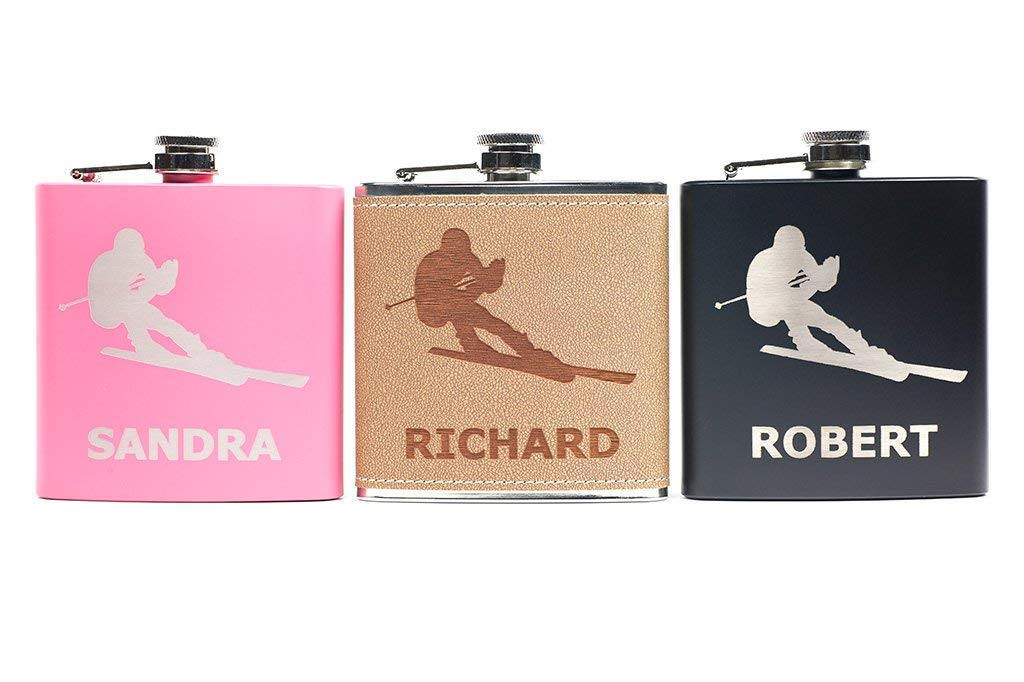 Gift for Groomsmen Personalized Ski Flask for Birthday Bridesmaid Winter Snow Slopes Christmas