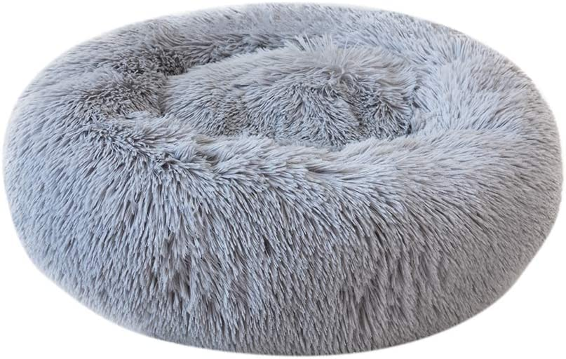 Decdeal Cama de Mascotas Donut Cama de Perros Gatos Redonda Cómodo Suave Felpa Corto con una Bola de Sisal Cama de Gatitos Cachorros para Dormir Descansar Durmiente