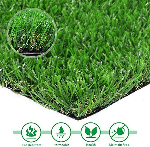 Artificial lawn Grass 7 x 15 Synthetic Turf Fake Grass Indoor Outdoor Landscape Pet Dog Area, Green