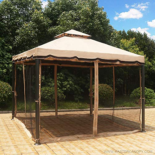 MASTERCANOPY Gazebo 10X10 Patio Rome Gazebo Canopy Soft Top with Mosquito Netting,GH12N12 (Beige)