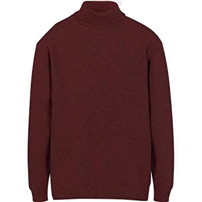 Abetteric Men Solid Short Long-Sleeved High Neck Pullover Sweater Outwear
