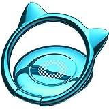 スマホリング 猫耳 薄型 バンカーリング 360度回転 ホールドリング  iPhone Android多機種対応(ブルー)
