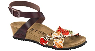 8cd25bb720 Image Unavailable. Image not available for. Color: Birkenstock Women's Lola  Flower Frill Brown Textile Sandal ...