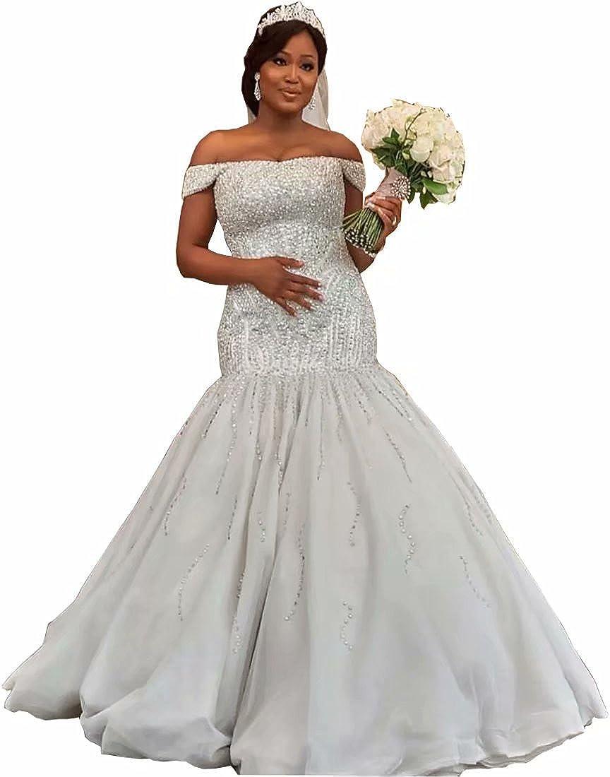 Chady 2019 Luxury Off Shoulder Plus Size Mermaid Wedding ...