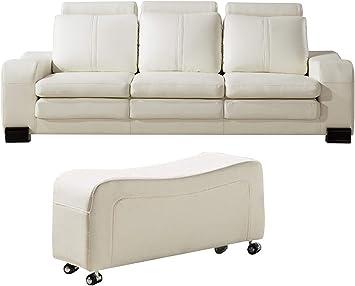 Amazon.com: Benjara Faux Leather Upholstered Wooden Sofa And Ottoman Set, White: Furniture & Decor