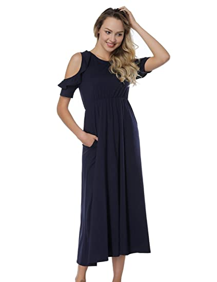 d103375405854 DANALA Solid Color Cold Shoulder Tunic Top T-Shirt Swing A-Line Maxi Dress  for Summer Navy Blue S  Amazon.in  Clothing   Accessories