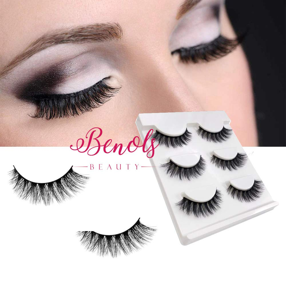 e5d95579f0a Benols Beauty Handmade 3D Mink False Eyelashes, 3 Pairs Natural Soft  Reusable Fake Eye Lashes